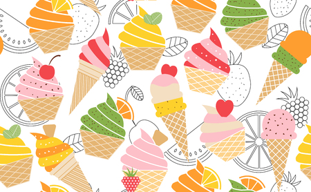 Colorful vector summer pattern with fruits and ice cream illustration.
