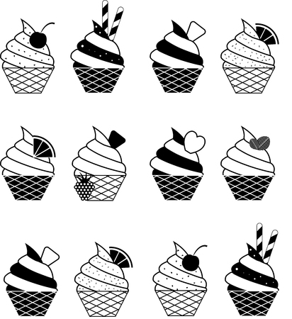 Vector summer seamless pattern with fruits and ice cream desserts illustration.