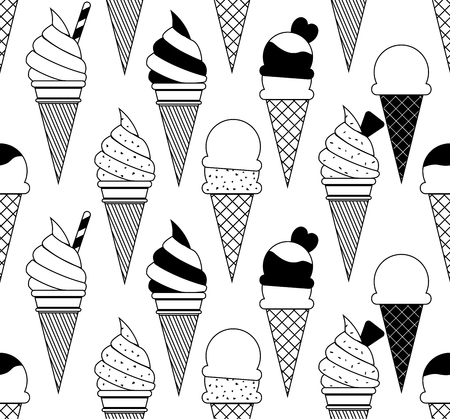 Vector summer seamless pattern with fruits and ice cream.
