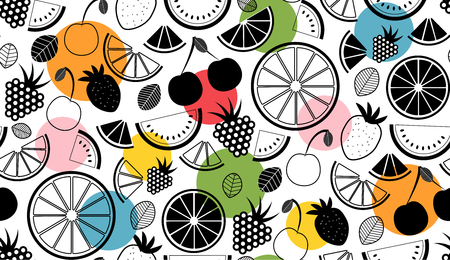Vector summer seamless pattern with fruits illustration. Illustration