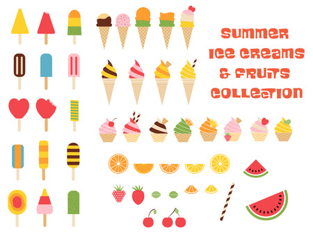 Vector colorful graphics ice creams, cakes and summer fruits illustration