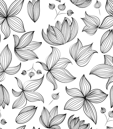 Floral vector seamless pattern with hand drawn black flowers on white background - Moire outline illustration Illustration