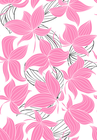 Floral vector seamless pattern with hand drawn black flowers on colorful leaves - Moire outline illustration Stock Vector - 79857554