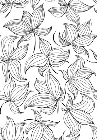 Floral vector seamless pattern with hand drawn black flowers isolated on white background - Moire outline illustration