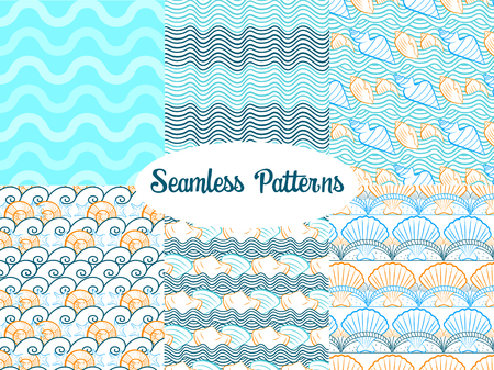 Set of vector seamless patterns for summer with sea waves, shells, seashells, for seasonal design and backgrounds Stock Vector - 80628226