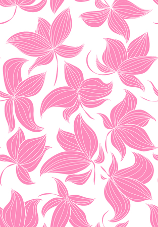Floral vector seamless pattern with hand drawn black flowers on colorful leaves - Moire outline illustration