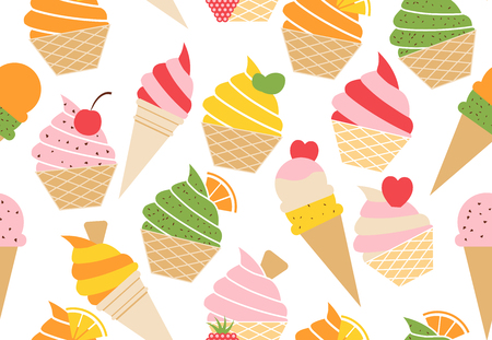 Colorful vector summer seamless pattern with fruits and ice cream illustration isolated on white background