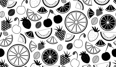 Monochromatic vector summer seamless pattern with fruits illustration isolated on white background Illustration