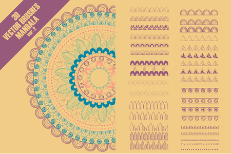 Vector seamless pattern brushes to create mandala decor for your design with abstract ornament. Oriental design. Ornamental doodle background.