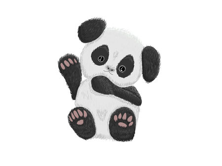 Cute baby panda bear hand drawn vector illustration
