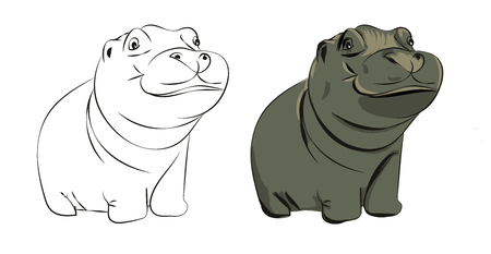 Hand drawn hippopotamus baby vector illustration - colored and black and white Stock Vector - 81950180