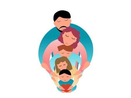 Family concept vector illustration - Dad and mom with three children