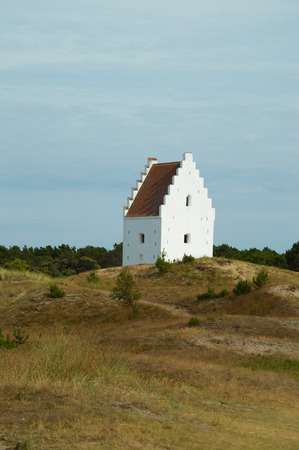 Den Tilsandede Kirke, Sand-Buried Church, Skagen, Jutland, Denmark Stock Photo