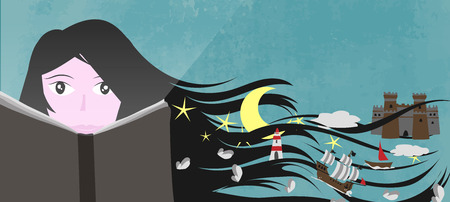 A girl read a book and his imagination and fantasy create a magic world - Vector illustration for web banner