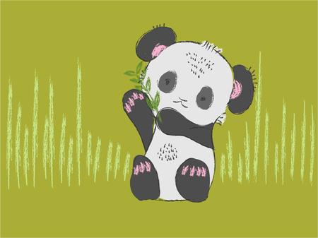 Cute baby panda bear hand drawn vector illustration Stock Vector - 83879279