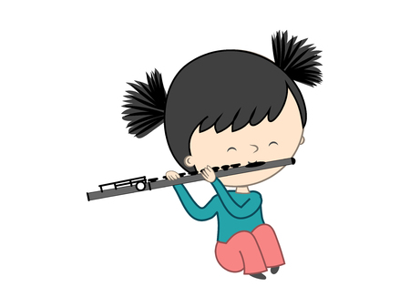 Cute little girl playing flute isolated on white background - Vector illustration