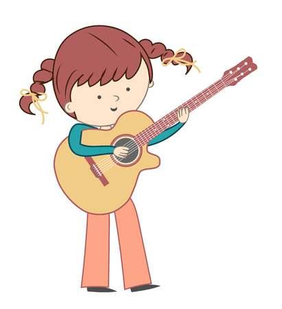 Girl playing guitar isolated on white background - Vector illustration