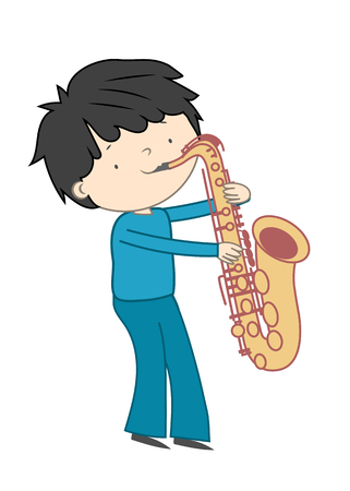 Boy playing saxophone isolated on white background - Vector illustration