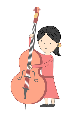 Girl playing violoncello isolated on white background - Vector illustration Stock Vector - 83879284