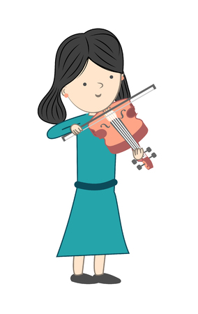 Girl playing violin isolated on white background - Vector illustration
