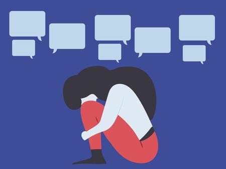 Conceptual illustration for bullying, gossiping; aspersion, defamation, slander, libel, slur, detraction, on female girl and teen Çizim
