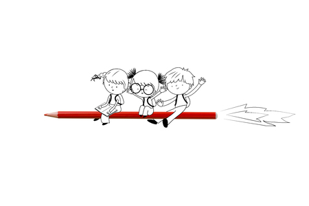 Back to school - Illustration with happy children flying on red crayon rocket