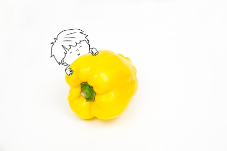 Happy cute boy embracing a yellow big pepper  isolated on white background - Healthy food and nutrition for kids illustration