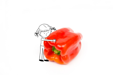 Fun girl playing with red pepper isolated on white background - Healthy food and nutrition for kids illustration Stock Photo