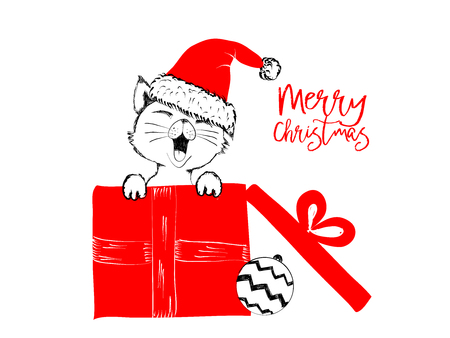 christmas pussy: Merry Christmas greetings cards hand drawn with black and red ink pens for loving holidays - Vector Illustration isolated on white