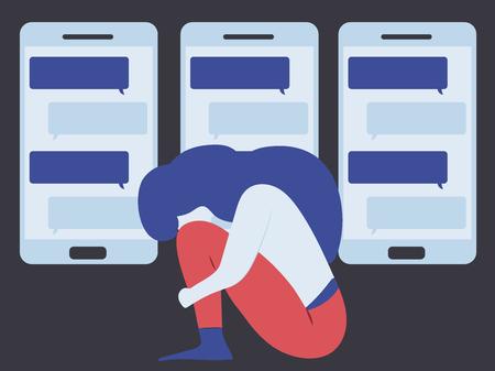 Illustrazione concettuale per il bullismo informatico, il pettegolezzo; aspersione, diffamazione, calunnia, diffamazione, legatura, detrazione, su ragazza e adolescente