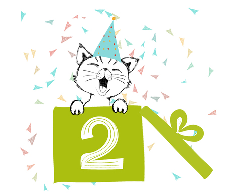Happy Birthday greetings cards hand drawn with a cute cat created with black ink pens for loving party - Vector Illustration isolated on white background Illustration