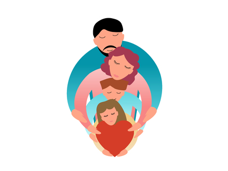 Family concept vector illustration - Dad and mom with two children Illustration