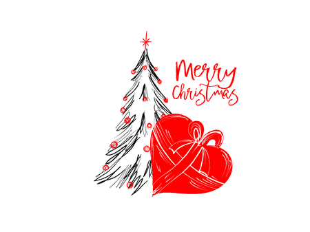 Merry Christmas greetings cards hand draawn with black and rec ink pens for loving holidays - Vector Illustration isolated on white Illustration