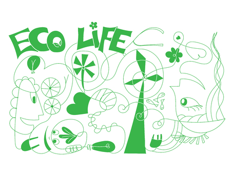 Vector doodle ecologic concept for green life and world - Outlined illustration