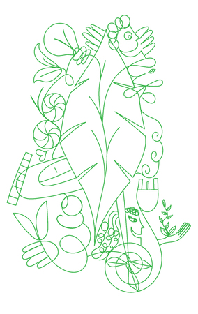 Vector doodlle ecologic concept for green life and world - Outilined illustration