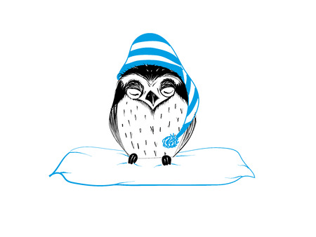 Cute hand drawn owl with blue coif sleeping sitting on pillow for good night  - Vector Illustration Illustration