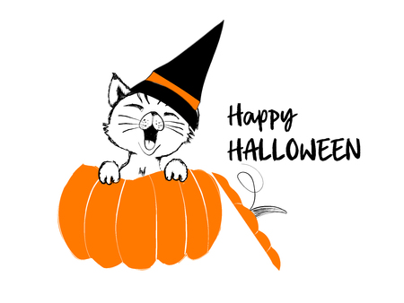 Cute black cat in the orange pumpkin for happy Halloween - vector illustration isolated on white background Stock Vector - 88323588