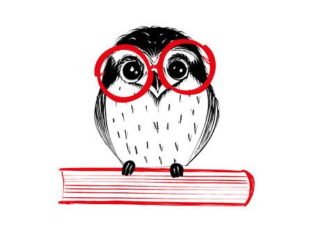 Leuke hand getrokken uil met rode glaszitting op boek - Vectorillustratie