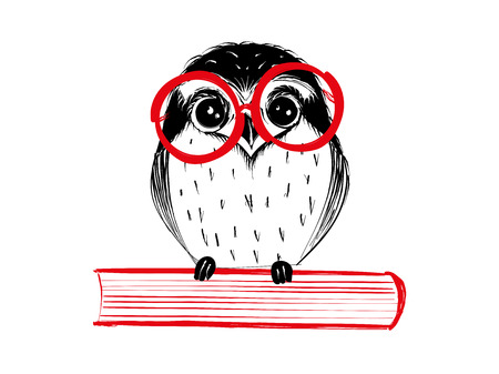 Cute hand drawn owl with red glass sitting on book - Vector Illustration Illustration
