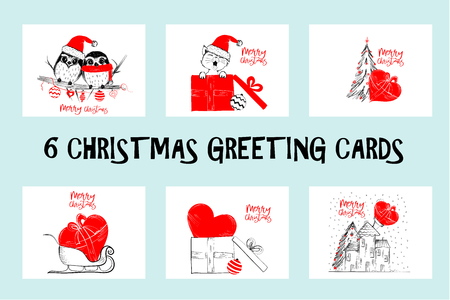 Set of Merry Christmas greeting cards, vector Illustration. Illustration