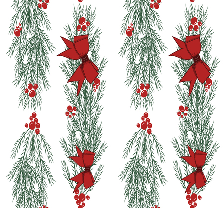 Christmas vector seamless pattern with hand drawn illustration isolated on white Stock Vector - 90267895