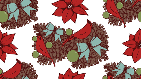 Christmas vector seamless pattern with hand drawn illustration isolated on white Stock Vector - 90267896
