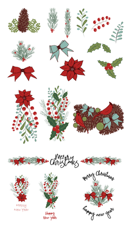 Christmas vector hand drawn illustration isolated on white