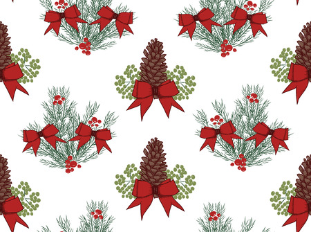 Christmas vector seamless pattern with hand drawn illustration isolated on white Stock Vector - 90272827