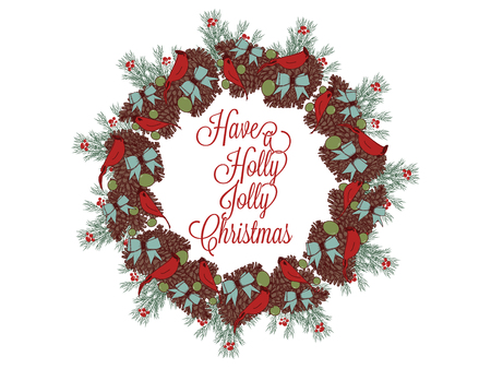 Christmas wreath hand drawn illustration for greeting cards isolated on white Stock Vector - 90581740