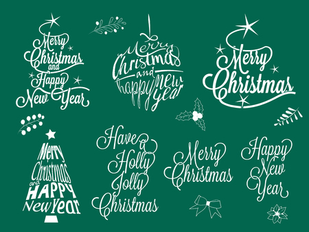 Merry Christmas and happy new year calligraphic lettering collection - vector set Stock Vector - 90581743