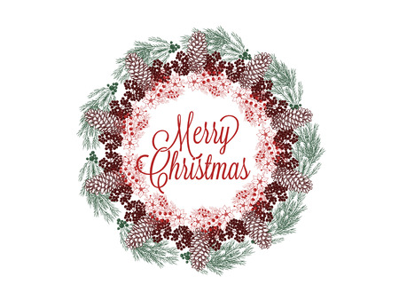 Christmas wreath hand drawn illustration for greeting cards isolated on white Illustration