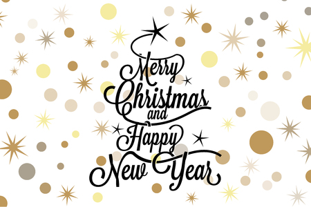 Merry Christmas and happy new year calligraphic lettering with balck tree and golden stars on white background - Vector greeting card Illustration