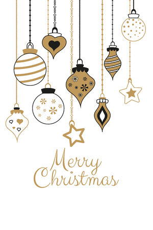 Vector gold greetings cards for Merry Christmas with balls, tree, flower, garlands, text for print and web
