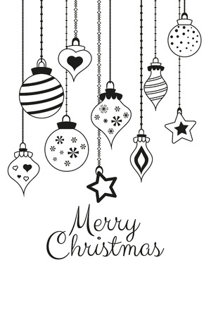 Vector greetings cards for Merry Christmas with balls, tree, flower, garlands, text for print and web